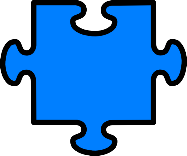 Puzzle clipart colored #5