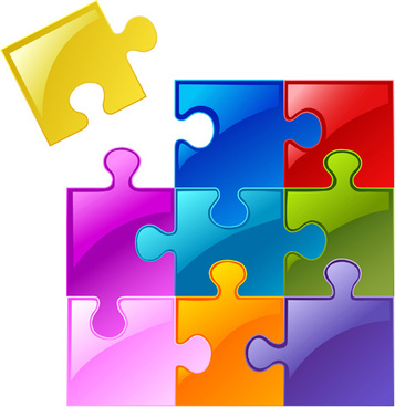 Puzzle clipart colored Colorful vector color  background