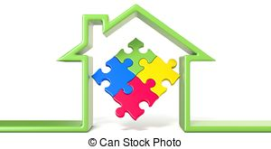 Puzzle clipart house outline 3d line in render Illustration