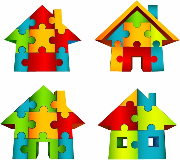 Puzzle clipart house outline Download House vector) (162 for