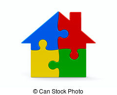 Puzzle clipart house outline Of puzzle concept House Green