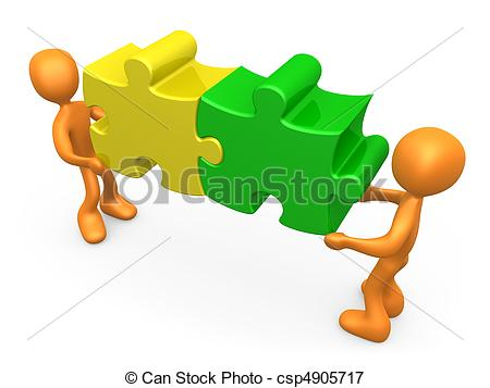 Puzzle clipart working together #7