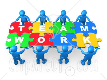 Puzzle clipart working together #9