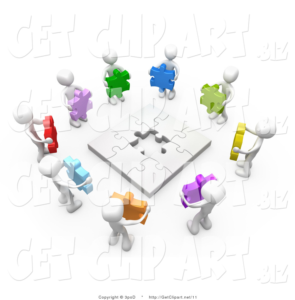 Puzzle clipart working together #3