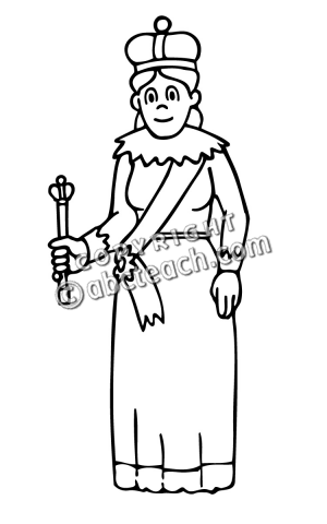 Queen clipart black and white #6