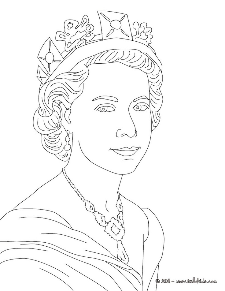 Queen clipart colouring page Printing Coloring ELIZABETH Pinterest best