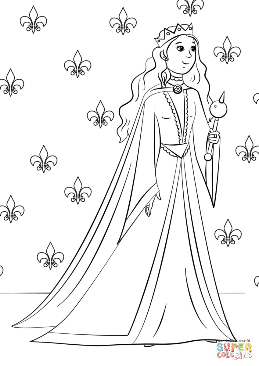 Queen clipart colouring page The Printable coloring Kings View