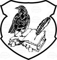 Drawn raven coat arms  And And White With