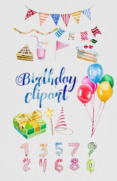 Quoth clipart balloon  Watercolor Birthday clipart Lanterns