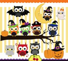 Quoth clipart commercial Owls by Halloween Set Spooky