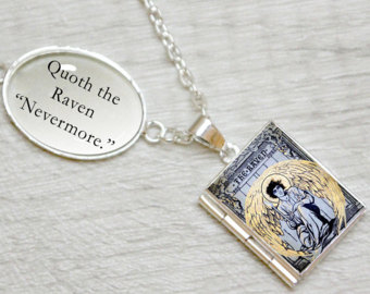 Quoth clipart text box Raven Literary Locket the Etsy