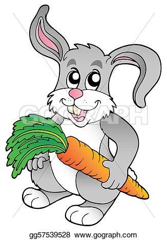 Carrot clipart bunny Holding Vector Drawing illustration Clipart