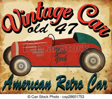 Race Car clipart retro Printing old Vector for of
