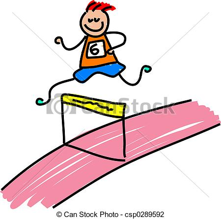 Race clipart child athletics Stock kid hurdles Art running
