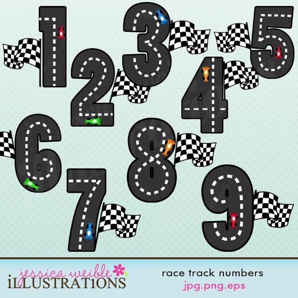 Hot Wheels clipart cute Digital Digital Numbers Go Track