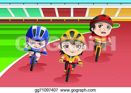 Racing clipart happy kid Art a vector A Illustration