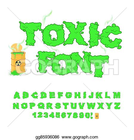 Toxic clipart radiation Vector font acid waste yellow