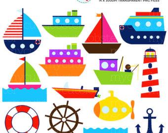 Raft clipart sea transportation Transport boats clip set Sea
