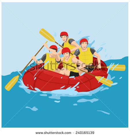 Rafting clipart funny Fun group illustration rafting vector
