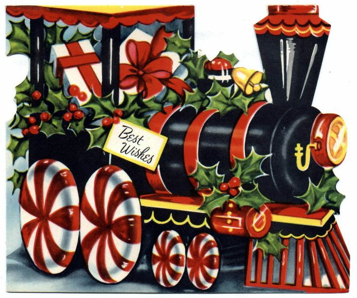 Merry Christmas clipart train Cards on Childrens Vintage 40s