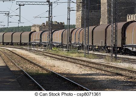 Railway Station clipart freight train Railway station  passing train
