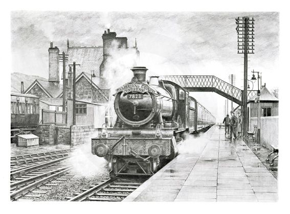 Drawn railroad train station Behance Great best Railway Drawings