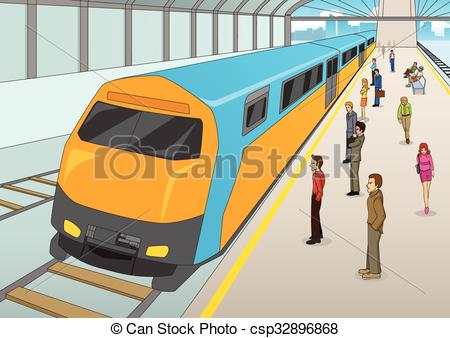 Train Station clipart train platform  Cartoon waiting of Train