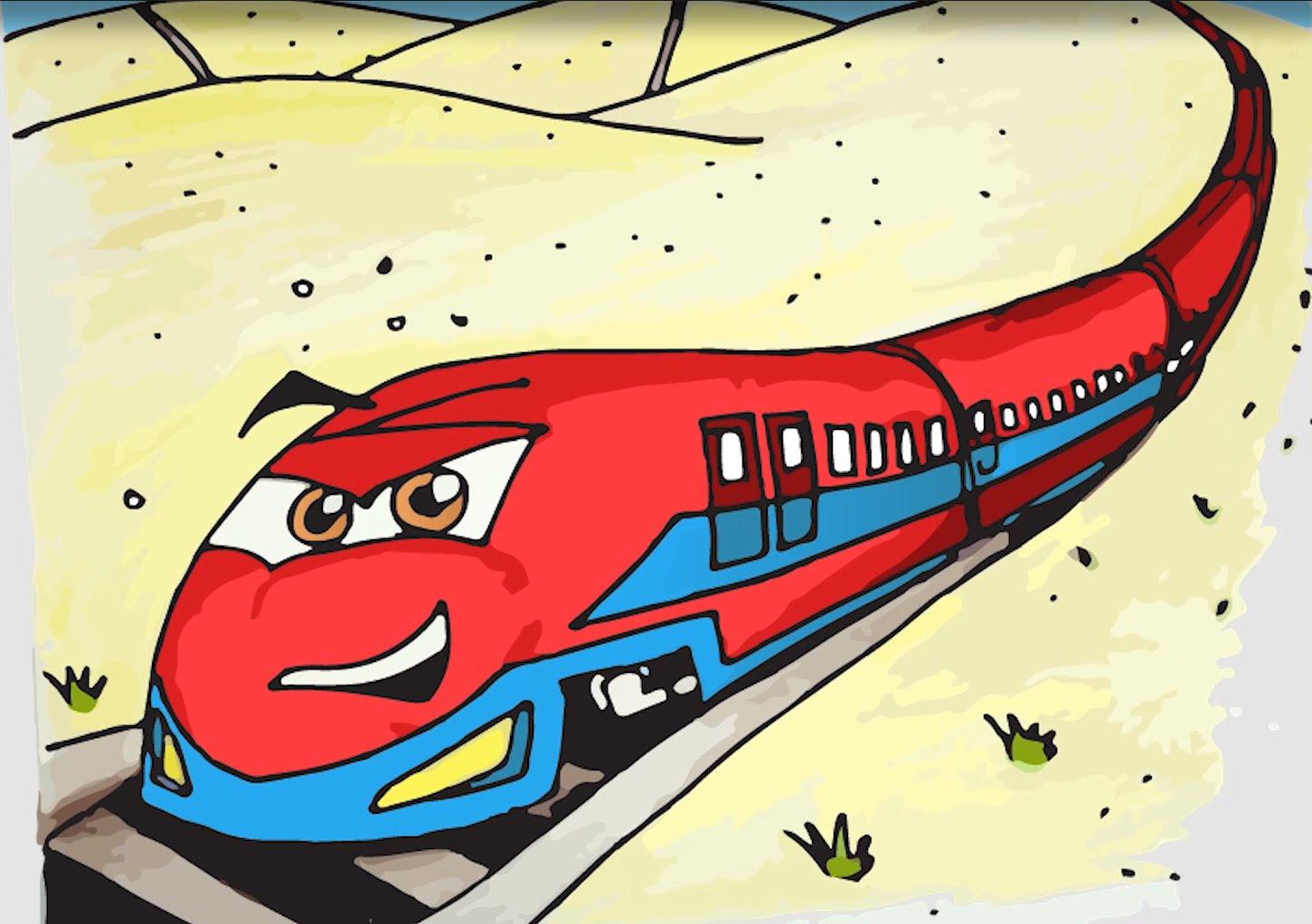 Drawn railroad bullet train Animated Train Cartoon  Kids