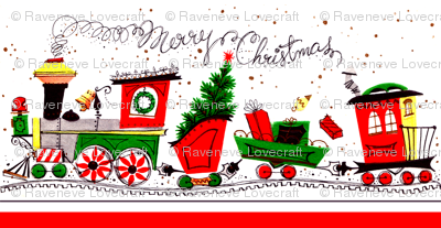 Merry Christmas clipart train Railway festive winter gifts Christmas