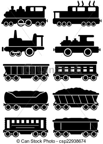 Drawn railroad passenger train  trains freight car with