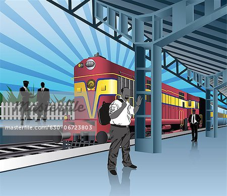 Railway Station clipart passenger train For Station waiting Clipart train