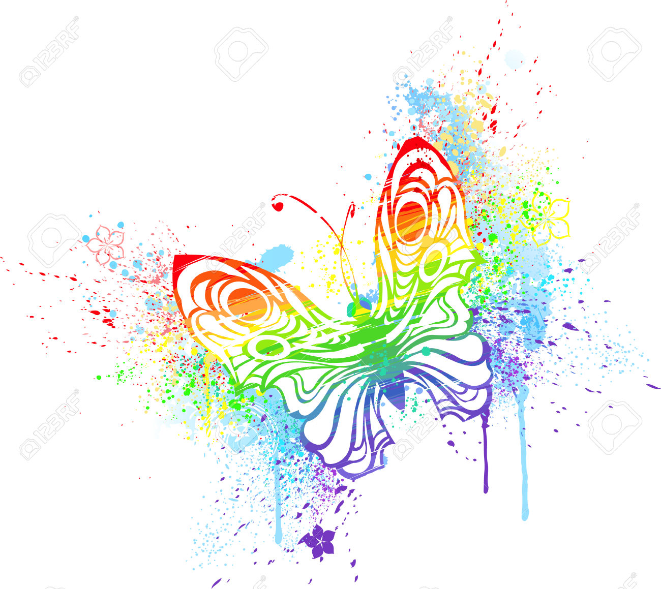 Rainbow Butterfly clipart 4 Butterfly Rainbow Stock Illustrations