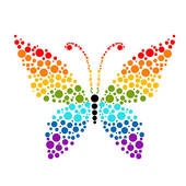 Rainbow Butterfly clipart Background · Free butterflies Dots