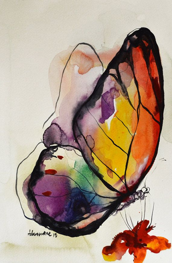 Drawn rainbow watercolor painting On Rainbow Butterfly ideas Best