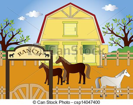 Ranch clipart background With clip horses illustration Illustrations