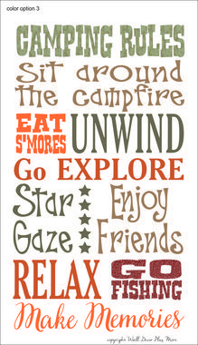 Randome clipart camp rules Decal Art Rules Camping Printed