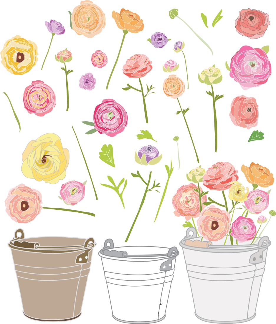 Ranuncula clipart Vector Garden Clip Party Art