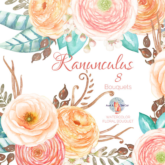 Ranuncula clipart bouquet Wax Floral Flowers Watercolor Bouquet