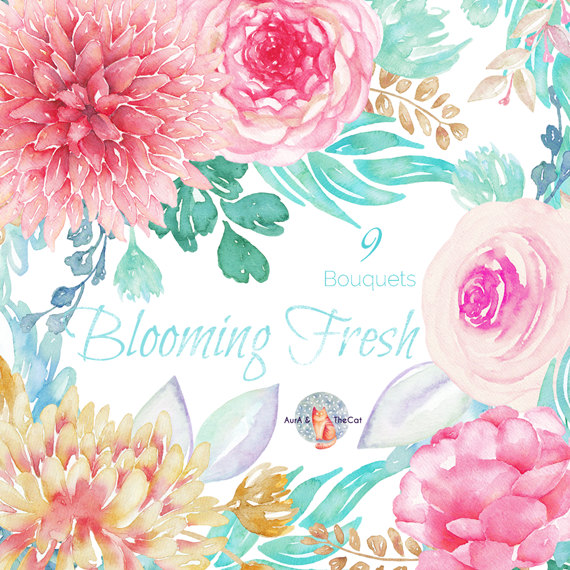 Ranuncula clipart dahlias Ranunculus Bouquet Painted and Watercolor