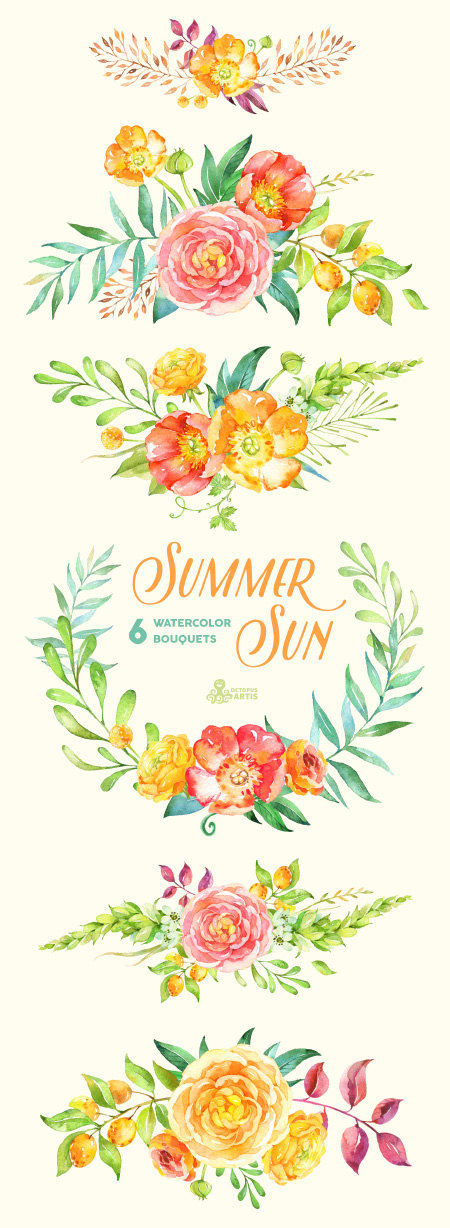 Ranuncula clipart floral ring Clip Summer greeting diy fruits