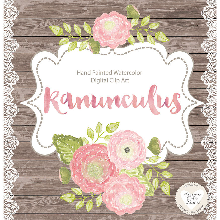 Ranuncula clipart flower leaves Watercolor is This Spring clipart