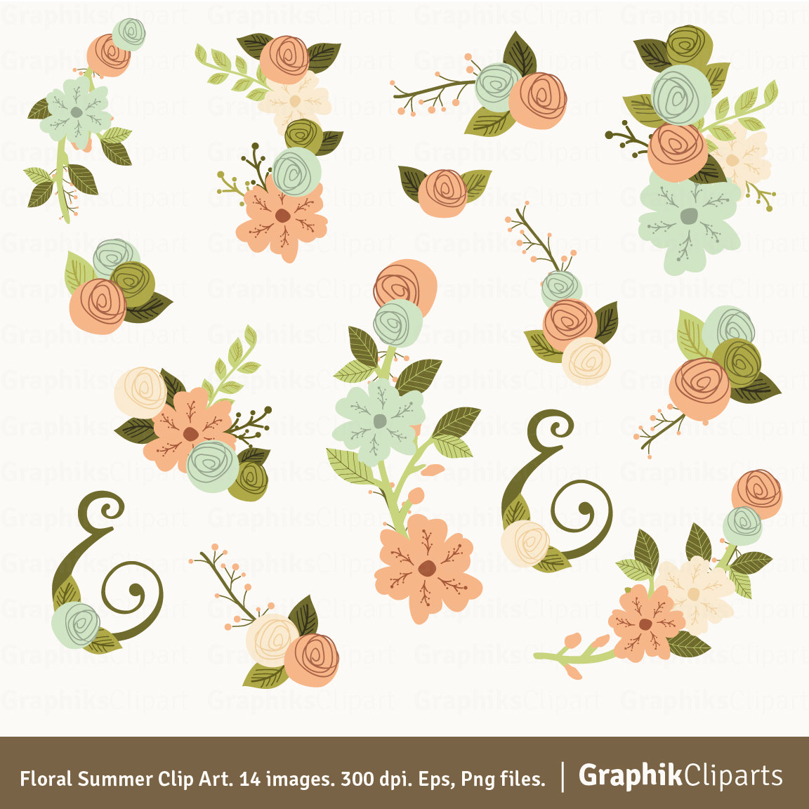 Ranuncula clipart hand drawn flower Clipart Coral Summer Art Etsy