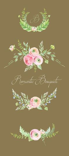 Ranuncula clipart hand drawn flower Art Art Bouquets Hand Watercolor