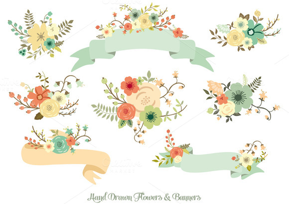 Ranuncula clipart hand drawn flower Hand &  Drawn Banners