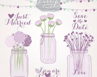 Ranuncula clipart mason jar flower Clipart Drawn Wedding clipart wedding
