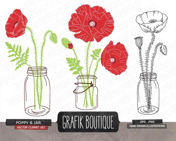 Ranuncula clipart mason jar flower Marketplace Jar #flower Poppy jars
