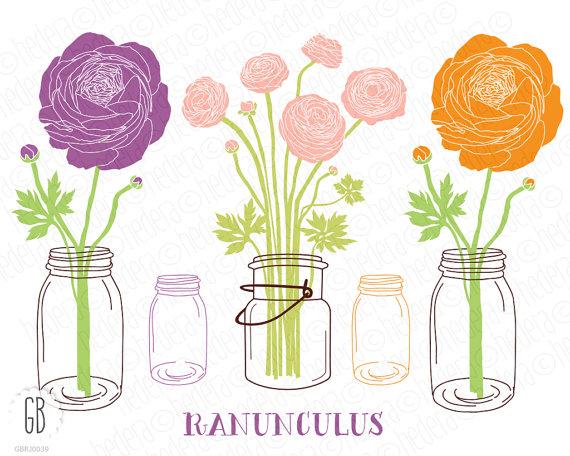 Ranuncula clipart mason jar flower Art date Mason flowers wedding