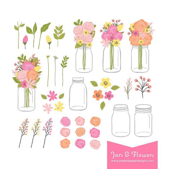 Ranuncula clipart mason jar flower Bouquet Jar  in Mason