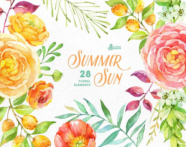 Ranuncula clipart mint flower Sun flowers Elements invitation popies