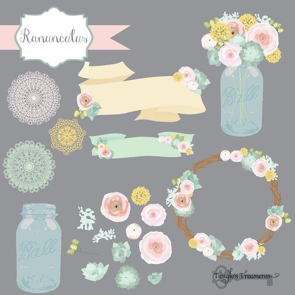 Ranuncula clipart mint flower Illustrations Illustrations Pastel ~ Flower